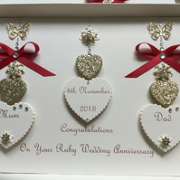 Personalised Handmade Ruby Wedding Anniversary Card 40th Mum Dad Gift Boxed