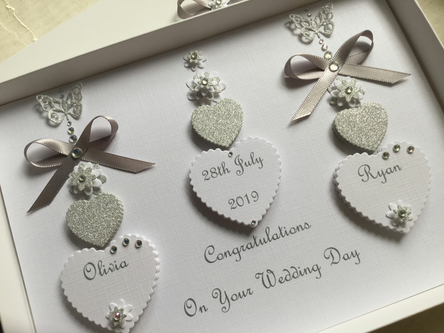 Personalised Gift Boxed Wedding Card Engagement Anniversary Silver 25 Diamond 60