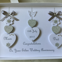Personalised Silver Wedding Anniversary Card 25th Diamond 60th Mum Dad Handmade