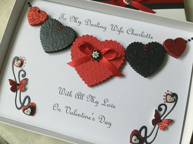Personalised Handmade Valentines Card Gift Boxed Wife Husband Girlfriend