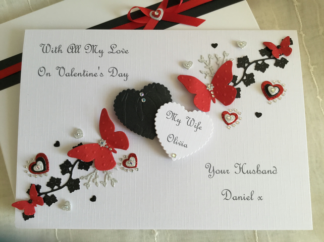 Personalised Boxed Valentine's Card Husband Wife Girlfriend Boyfriend