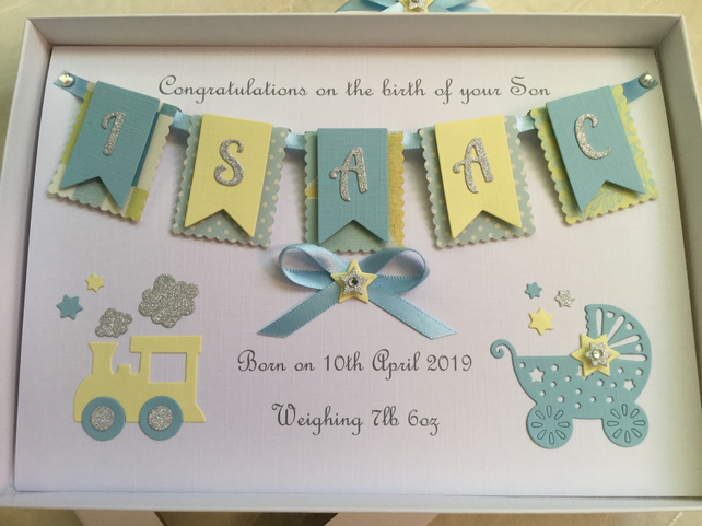 New Baby Boy Card Personalised Handmade Gift Card