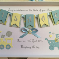 Personalised New Baby Boy Card Handmade Gift Boxed Keepsake
