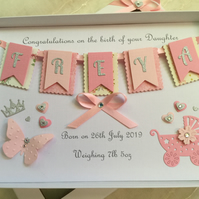 Personalised Handmade Gift Boxed New Baby Girl Card Keepsake