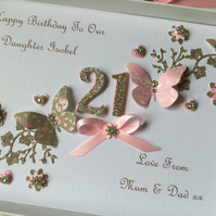 Personalised Handmade Birthday Card Daughter Mum Wife 18 21 30 40 50 60 Any Age
