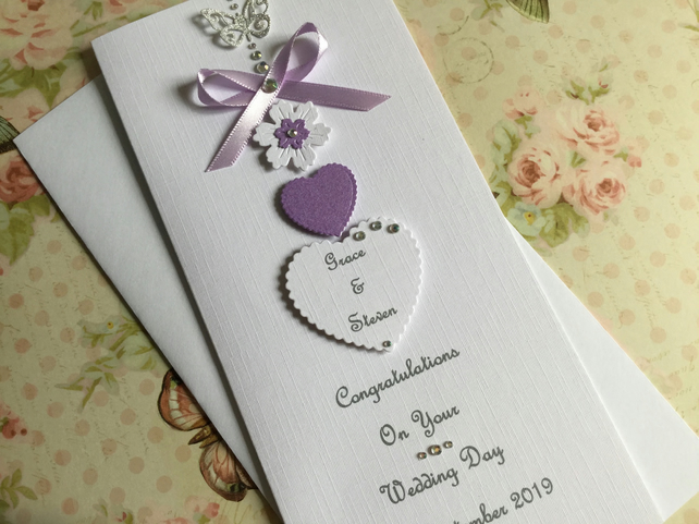 Personalised Handmade Wedding Day Card Lilac Engagement Any Anniversary