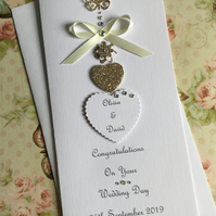 Personalised Handmade Wedding Day Card Engagement Any Anniversary