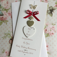 Personalised Handmade Ruby Wedding Anniversary Card 40th