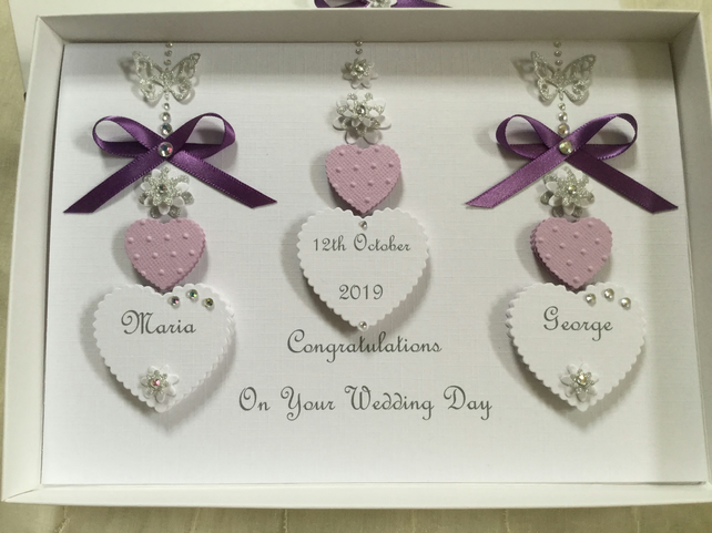 Personalised Handmade Wedding Card Gift Boxed Keepsake Engagement Anniversary
