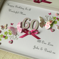 Personalised Handmade Birthday Card 21 30 40 50 60 Daughter Mum Any Age Wife 70