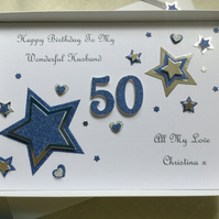 Personalised Handmade Birthday Card Husband Dad  Son 50th 40th 60th 70th Any Age