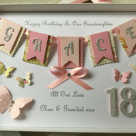 Personalised Handmade Birthday Card Boxed Daughter Granddaughter 16 18 21 30 60