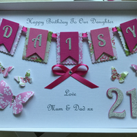 Personalised Handmade Birthday Card Daughter Granddaughter 18 21 30 40 50 60 70