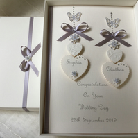 Personalised Handmade Wedding Day Card Ivory Boxed Son Daughter Engagement