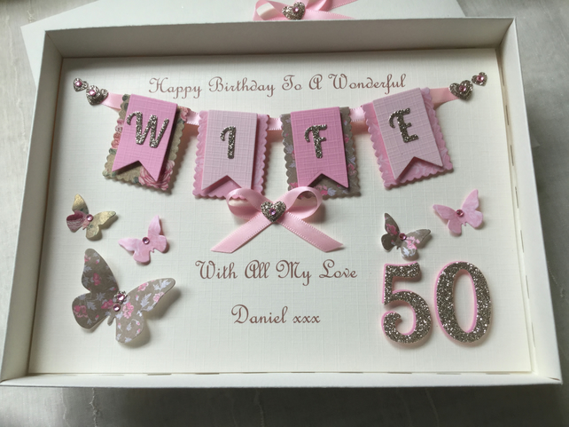 Personalised Handmade Wife Birthday Card Gift Boxed Any Age Mum 30 40 50 60 70