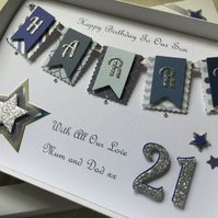 Personalised Handmade Birthday Card Son Grandson Dad Any Age 21 30 40 50 Boxed