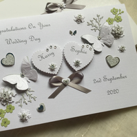 Personalised Handmade Wedding Day Card Gift Boxed Son Daughter Engagement