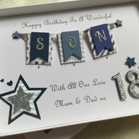 Personalised Handmade Birthday Card Son Dad Godson Gift Box Any Age 16 18 21 30