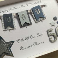Personalised Handmade Birthday Card Dad Son Any Age 50 60 70 18 21 Gift Boxed
