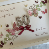 Personalised Handmade Birthday Card Gift Boxed Mum Daughter 50th 60th Any Age