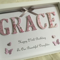 Personalised Handmade Birthday Card Gift Boxed 21st 18th Daughter Granddaughter