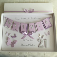 Personalised Birthday Card Daughter Granddaughter Gift Boxed 16th 18th 21st 30th