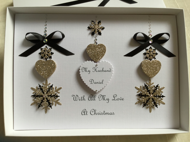 Christmas Card Personalised Husband Boyfriend Wife Girlfriend Gift Boxed Mum Dad