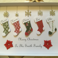 Personalised Family Christmas Stocking Card Any Names And Message Gift Boxed