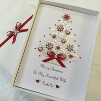 Personalised Christmas Card Wife Girlfriend Mum Dad Daughter Gift Boxed Any Text