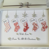 Personalised Handmade Family Christmas Card Gift Boxed Grandparents Any Message