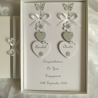 Engagement Card Gift Boxed Personalised Handmade Wedding Any Anniversary
