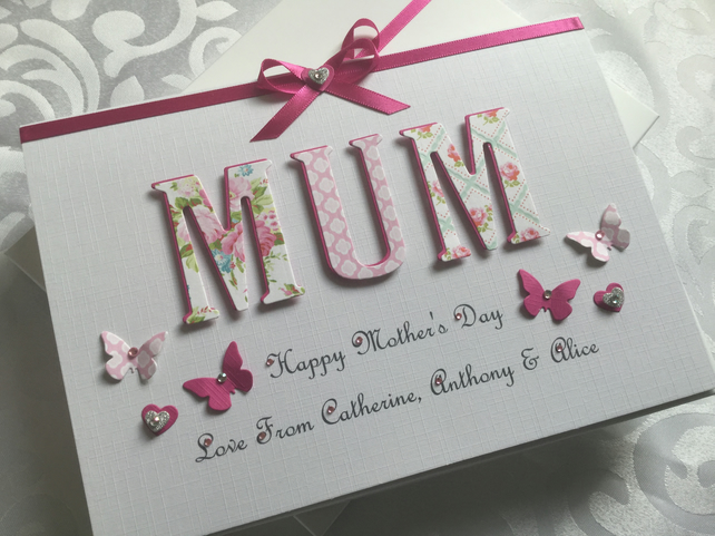 Mother's Day Card Personalised With Gift Box Mum Mam Mom Nan Mummy Gran