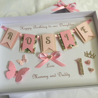 Personalised Handmade 1st Birthday Card Gift Boxed Daughter Granddaughter First