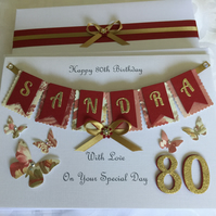 Personalised 80th Birthday Card Gift Boxed Any Age Mum Nan Sister 60th 70th 90th