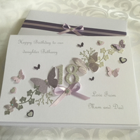 Personalised Handmade Birthday Card Gift Boxed Daughter Mum 18th 21st Any Age