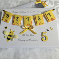 Personalised Birthday Card Granddaughter Daughter Gift Boxed Any Age 5th 1st 7th