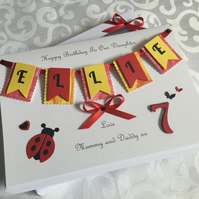 Personalised Ladybird Birthday Card Daughter Granddaughter Any Age 1st 7th 10th