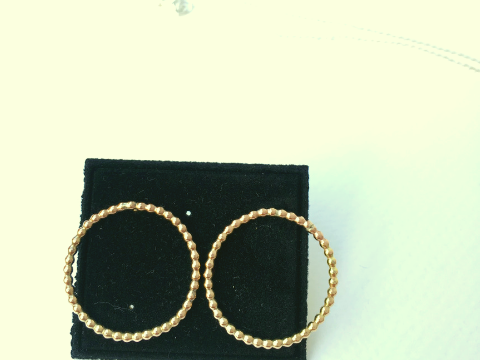 9ct Gold Filled Pearl band circle studs