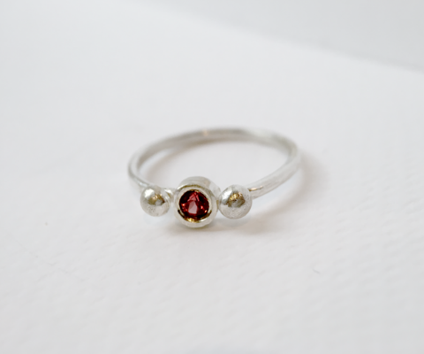 Garnet Sterling Silver Stacker Rings