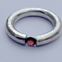 Garnet Sterling Silver tension ring