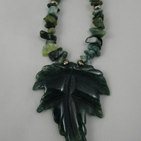 Moss Agate Leaf Necklace