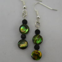 Green Abalone and Black Lava Earrings