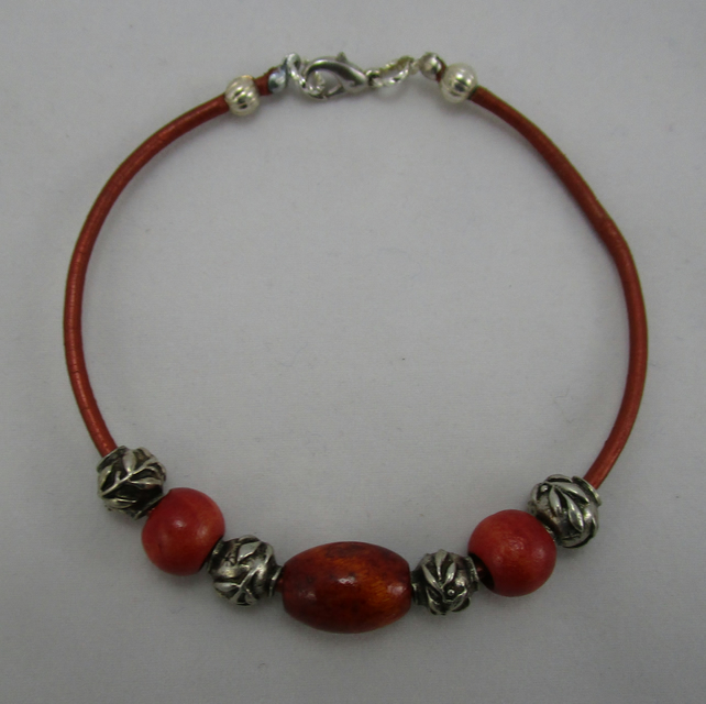 Handcrafted Wood Beads on Leather Strap
