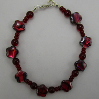 Red Abalone and Agate Bracelet