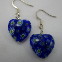 Murano Millefiori Heart Earrings
