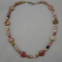 Genuine  Pink Opal Necklace