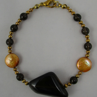 Smoky Quartz and Gold Freshwater Pearls Bracelet