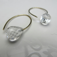 Crystal Quartz and Gold Earrings