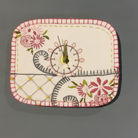 Vintage embroidery up cycled clock