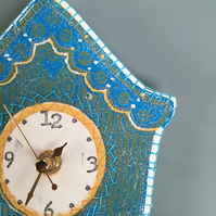 Hand printed quirky textile clock- yellow with turquoise